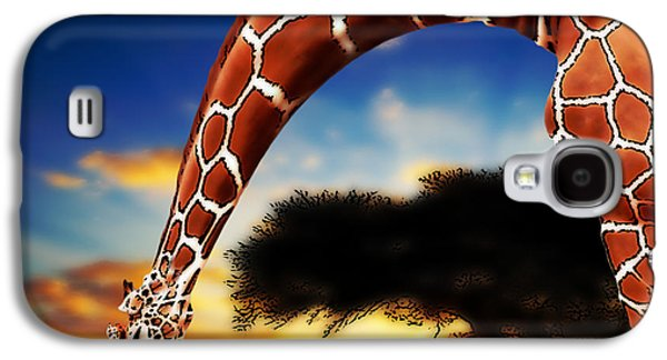 Giraffe Digital Galaxy S4 Cases - Mother And Child Galaxy S4 Case by Jack Zulli