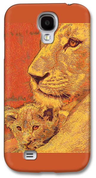 Animals Digital Galaxy S4 Cases - Mother And Cub Galaxy S4 Case by Jane Schnetlage