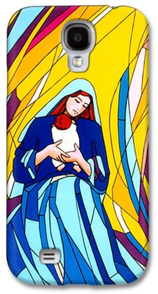 Star Glass Galaxy S4 Cases - Mother Mary and Child Galaxy S4 Case by Terezia Sedlakova Wutzay