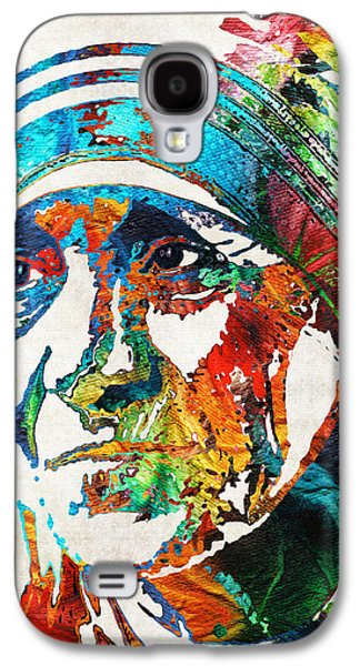 Blessings Paintings Galaxy S4 Cases - Mother Teresa Tribute by Sharon Cummings Galaxy S4 Case by Sharon Cummings