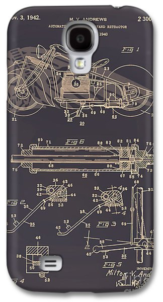 Drawing Of The Factory Galaxy S4 Cases - Motorcycle Stand Brown Galaxy S4 Case by Brian Lambert