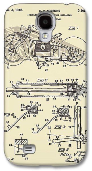 Drawing Of The Factory Galaxy S4 Cases - Motorcycle Stand Yellow Galaxy S4 Case by Brian Lambert