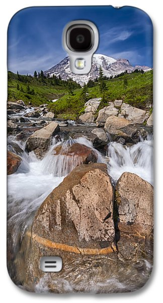 Landscapes Photographs Galaxy S4 Cases - Mount Rainier Glacial Flow Galaxy S4 Case by Adam Romanowicz