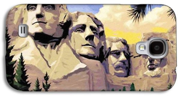 Democracy Paintings Galaxy S4 Cases - Mount Rushmore Galaxy S4 Case by Lanjee Chee