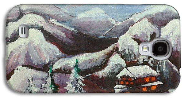 Landscape Acrylic Prints Drawings Galaxy S4 Cases - Mountain and the valley Galaxy S4 Case by Artist Nandika  Dutt