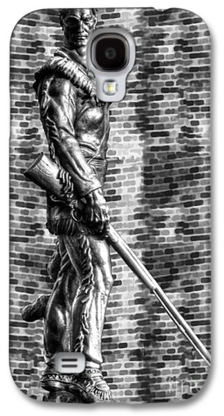 Dan Friend Galaxy S4 Cases - Mountaineer statue with black and white brick background Galaxy S4 Case by Dan Friend