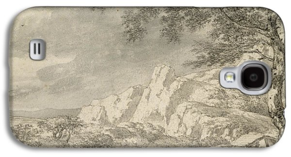 Dog Walking Galaxy S4 Cases - Mountainous Landscape With A Hiker Chalk And Indian Ink On Paper Galaxy S4 Case by Herman Nauwincz