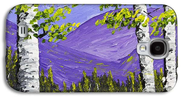 Woodlands Scene Paintings Galaxy S4 Cases - Mountains And Birch Trees In Spring Pallete Knife Painting Galaxy S4 Case by Keith Webber Jr