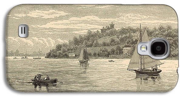 Canoe Drawings Galaxy S4 Cases - Mouth of the Shrewsbury River 1872 Engraving Galaxy S4 Case by Antique Engravings