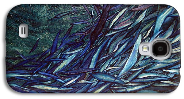Abstract Digital Paintings Galaxy S4 Cases - Movements In Blue Galaxy S4 Case by Jerica  Gracin
