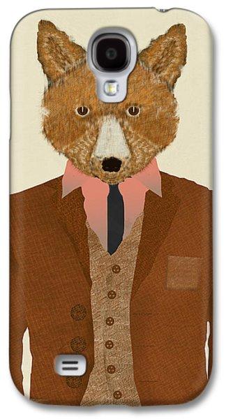 Shirt Digital Art Galaxy S4 Cases - Mr Fox Galaxy S4 Case by Bri Buckley