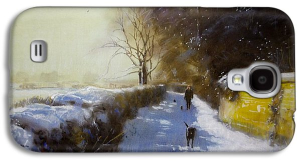 Winter Scene Pastels Galaxy S4 Cases - Mr Moores Lane Albrighton Galaxy S4 Case by Derek Williams RBSA FRSA