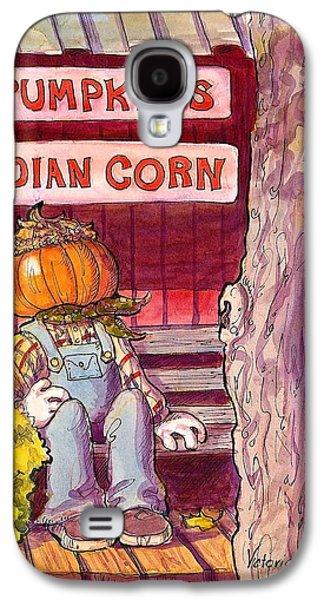 Pen And Ink Of Barn Galaxy S4 Cases - Mr. Pumpkin Galaxy S4 Case by Victoria Lisi