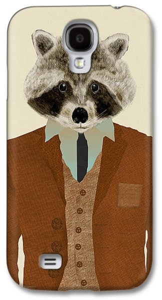 Raccoon Digital Art Galaxy S4 Cases - Mr Raccoon Galaxy S4 Case by Bri Buckley