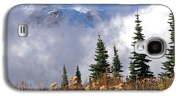 Scott Nelson Paintings Galaxy S4 Cases - Mt Rainier Cloud Meadow Galaxy S4 Case by Scott Nelson