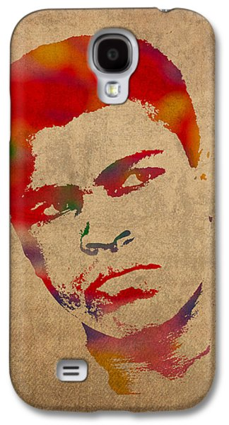 Boxer Galaxy S4 Cases - Muhammad Ali Watercolor Portrait on Worn Distressed Canvas Galaxy S4 Case by Design Turnpike