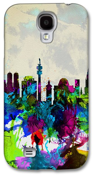 European City Digital Art Galaxy S4 Cases - Munich Watercolor Skyline Galaxy S4 Case by Naxart Studio