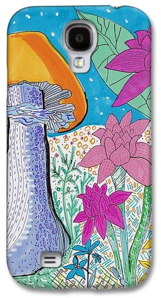 Nature Study Drawings Galaxy S4 Cases - Murshroom flowers and fields Galaxy S4 Case by Rosalina Bojadschijew