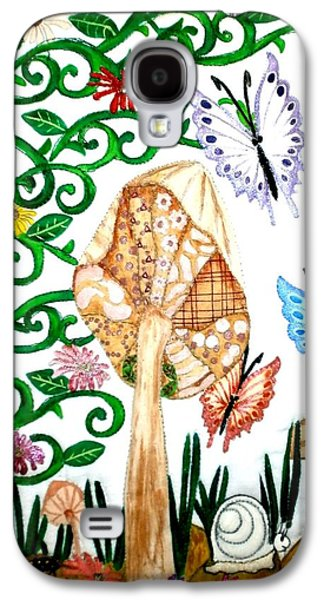 African-americans Tapestries - Textiles Galaxy S4 Cases - Mushroom Hunt Galaxy S4 Case by Linda Egland