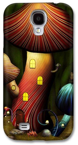 Suburban Digital Art Galaxy S4 Cases - Mushroom - Magic Mushroom Galaxy S4 Case by Mike Savad