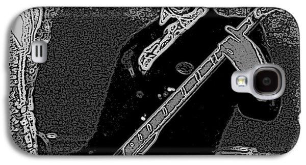 Bass Player Art Bw Galaxy S4 Case by Lesa Fine