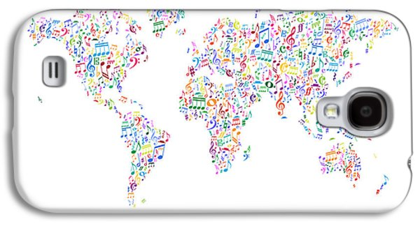 Cartography Digital Art Galaxy S4 Cases - Music Notes Map of the World Galaxy S4 Case by Michael Tompsett