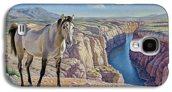 Wild Horse Paintings Galaxy S4 Cases - Mustang at Bighorn Canyon Galaxy S4 Case by Paul Krapf