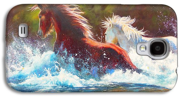 Chatham Paintings Galaxy S4 Cases - Mustang Splash Galaxy S4 Case by Karen Kennedy Chatham