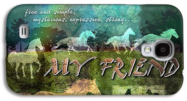 Horse Digital Galaxy S4 Cases - My Friend Horses Galaxy S4 Case by Evie Cook
