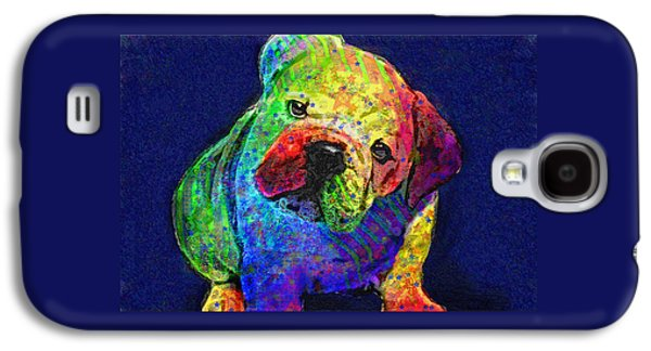 Best Sellers -  - Puppy Digital Art Galaxy S4 Cases - My Psychedelic Bulldog Galaxy S4 Case by Jane Schnetlage