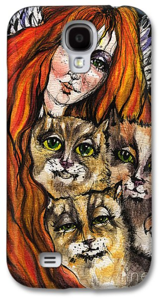 Angel Blues Drawings Galaxy S4 Cases - My Three Cats Galaxy S4 Case by Angel  Tarantella