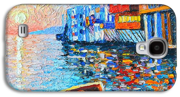 Sunset Abstract Galaxy S4 Cases - Mykonos Little Venice - Timeless Moment Galaxy S4 Case by Ana Maria Edulescu