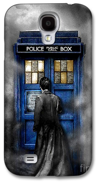 Tardis Galaxy S4 Cases - Mysterious Time traveller with Black Jacket Galaxy S4 Case by Three Second