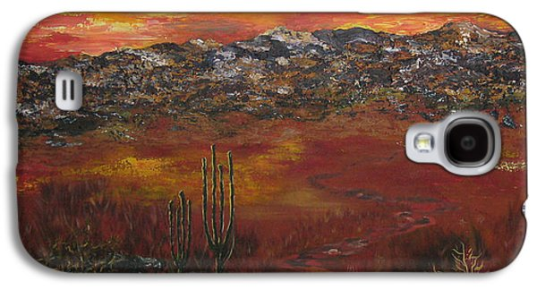 Mystic Setting Paintings Galaxy S4 Cases - Mystic Desert Galaxy S4 Case by Linda Eversole