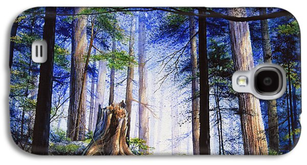 Woodlands Scene Paintings Galaxy S4 Cases - Mystic Forest Majesty Galaxy S4 Case by Hanne Lore Koehler