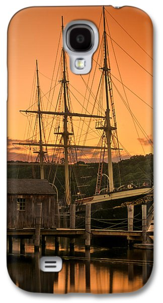 Historic Schooner Galaxy S4 Cases - Mystic Seaport Sunset-Joseph Conrad tallship 1882 Galaxy S4 Case by Thomas Schoeller
