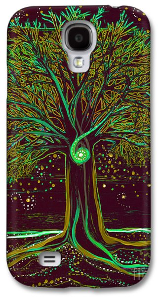 Mystical Landscape Mixed Media Galaxy S4 Cases - Mystic Spiral Tree  green by jrr Galaxy S4 Case by First Star Art
