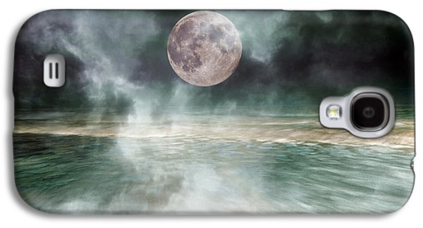 Moonscape Galaxy S4 Cases - Mystical Beach Moon Galaxy S4 Case by Betsy A  Cutler