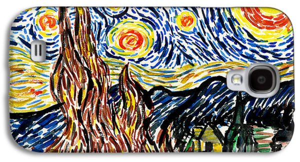 Kirk Galaxy S4 Cases - Vincent van Goghs Starry Night Galaxy S4 Case by Genevieve Esson