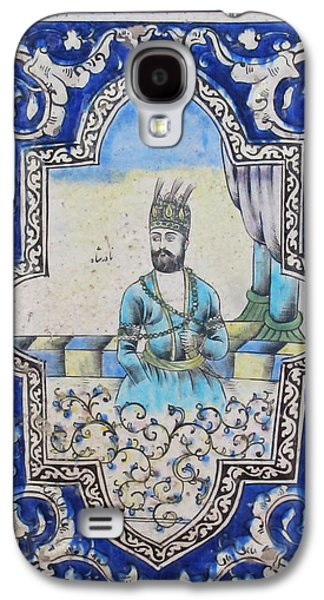 Ceramic Ceramics Galaxy S4 Cases - Nader Shah Qajar Ceramic Style Persian Art Galaxy S4 Case by Persian Art