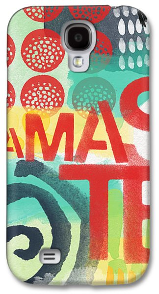 Stripes Mixed Media Galaxy S4 Cases - Namaste- Contemporary Abstract Art Galaxy S4 Case by Linda Woods