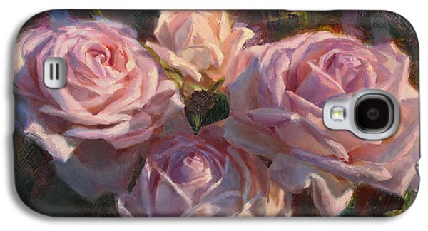 First Lady Paintings Galaxy S4 Cases - Nanas Roses Impressionistic Oil Painting of Beautiful Flowers Galaxy S4 Case by Karen Whitworth