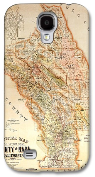 Cabernet Galaxy S4 Cases - Napa Valley Map 1895 Galaxy S4 Case by Jon Neidert