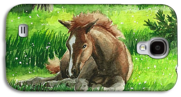 Saving Paintings Galaxy S4 Cases - Napping Alberta Wild Foal Galaxy S4 Case by Linda L Martin