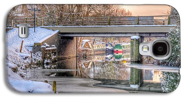 Reflections In River Galaxy S4 Cases - Narrow Boats Under the Bridge Galaxy S4 Case by Gill Billington