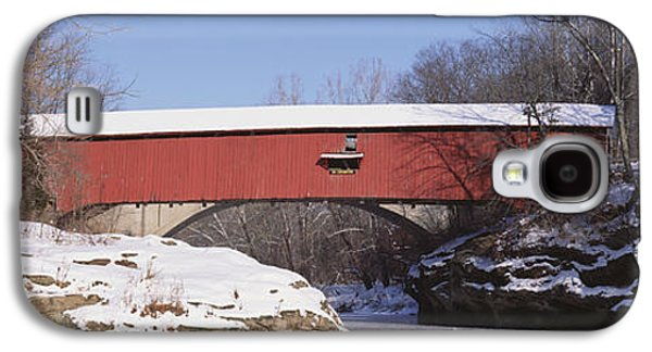 Indiana Winters Galaxy S4 Cases - Narrows Covered Bridge Turkey Run State Galaxy S4 Case by Panoramic Images