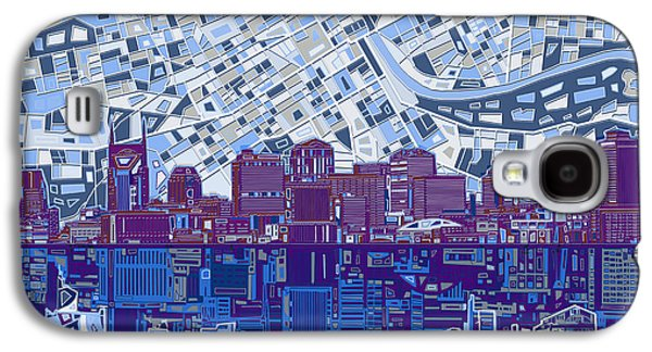Abstract Digital Galaxy S4 Cases - Nashville Skyline Abstract 8 Galaxy S4 Case by MB Art factory