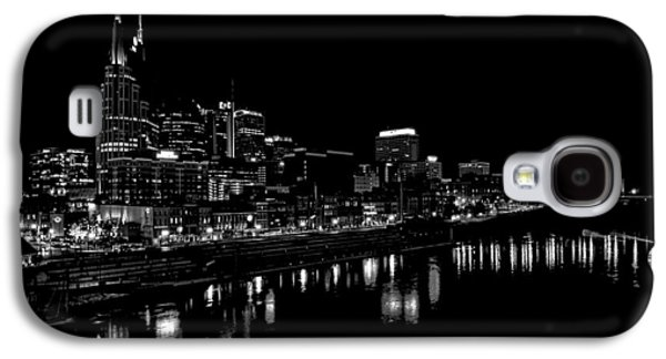Nashville Tennessee Galaxy S4 Cases - Nashville Skyline At Night In Black And White Galaxy S4 Case by Dan Sproul