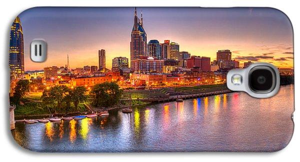 Tennessee Landmark Galaxy S4 Cases - Nashville Skyline Galaxy S4 Case by Brett Engle