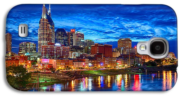 Light Photographs Galaxy S4 Cases - Nashville Skyline Galaxy S4 Case by Dan Holland